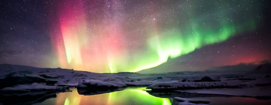 Northern Lights Over Jokulsarlon Lagoon