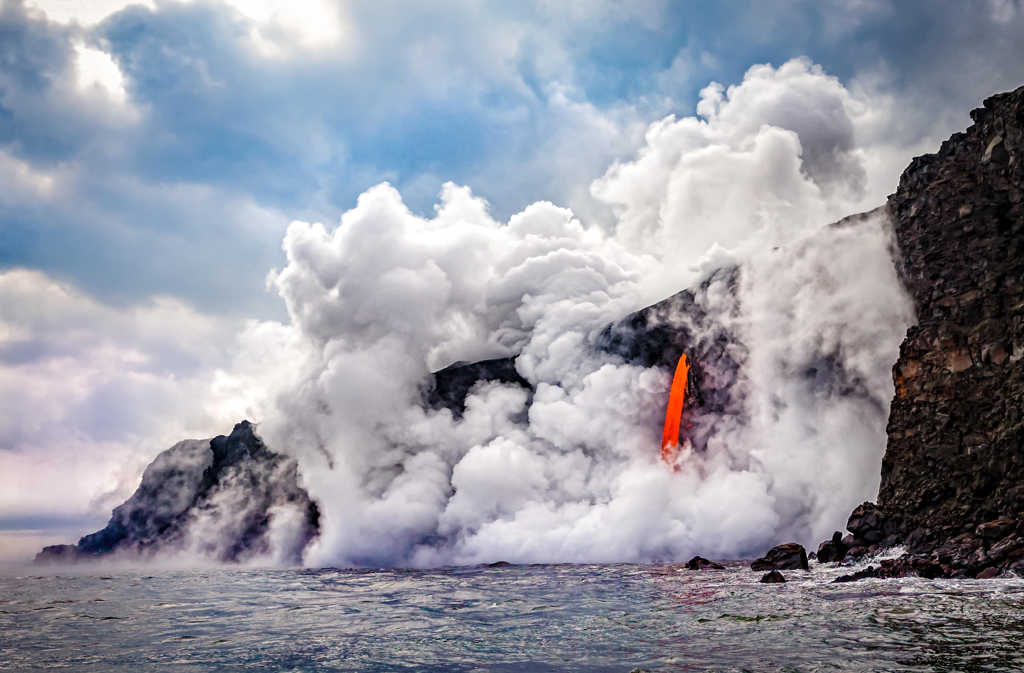 Kamokuna ocean entry in Hawaii's Volcano National Park